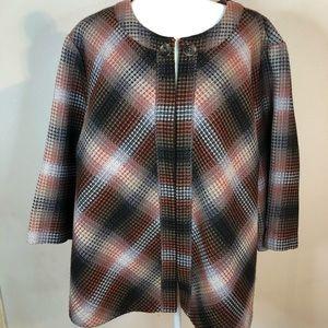 Liz & Me Platinum jacket 3X fall colors plaid